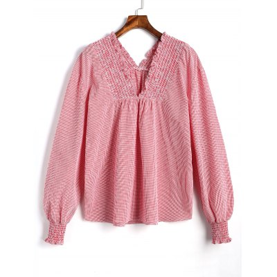 Plaid Smocked Panel V Neck Blouse