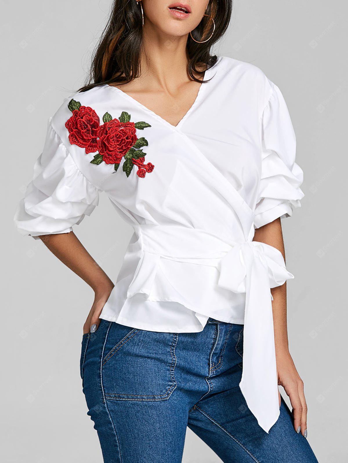Embroidered Striped Bowknot Blouse