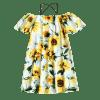 Sunflower Print Open Shoulder Cami Dress - FLORAL