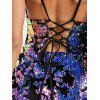 Sequin Lace Up Spaghetti Strap Club Dress - COLORMIX