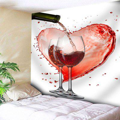 Valentine S Day Red Wine Glass Heart Print Wall Art Tapestry