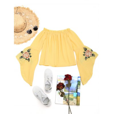 Blouse Embroidered Floral Flare Sleeve Ruffles HqTx0Szf