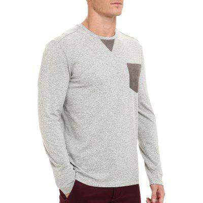 Pocket Crew Neck Long Sleeve T-shirtMens Long Sleeves Tees<br>Pocket Crew Neck Long Sleeve T-shirt<br><br>Collar: Crew Neck<br>Material: Cotton, Polyester, Spandex<br>Package Contents: 1 x T-shirt<br>Pattern Type: Patchwork<br>Season: Spring, Summer<br>Sleeve Length: Full<br>Style: Casual, Fashion<br>Weight: 0.3600kg