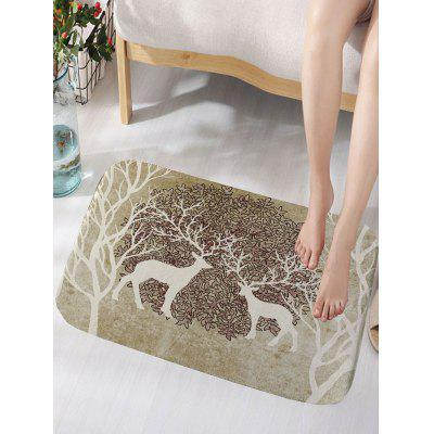 Two Deer Print Flannel Skidproof Bath Mat
