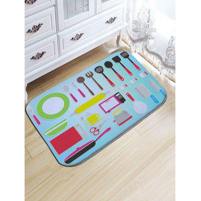 Kitchen Tools Pattern Flannel Skidproof Bath Rug