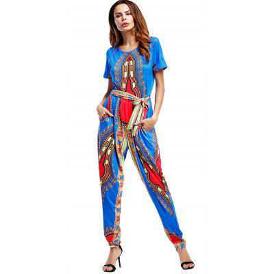 Belted Tribal Print JumpsuitJumpsuits &amp; Rompers<br>Belted Tribal Print Jumpsuit<br><br>Fit Type: Loose<br>Material: Polyester<br>Package Contents: 1 x Jumpsuit   1 x Belt<br>Pattern Type: Print<br>Season: Fall, Spring<br>Style: Fashion<br>Weight: 0.3900kg<br>With Belt: Yes