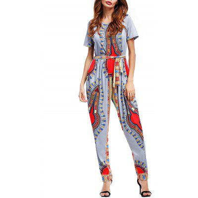 Belted Tribal Print Jumpsuit