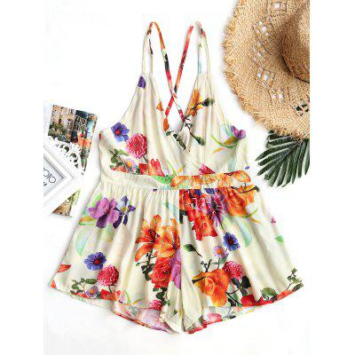 High Waisted Backless Floral Cami Romper