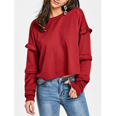 Crew Neck Ruffled Sweatshirt