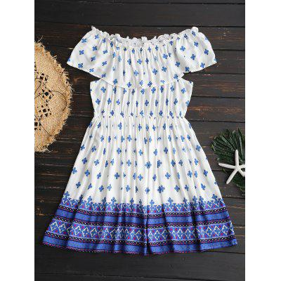 Off Shoulder High Waisted Printed Dress
