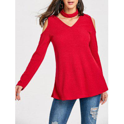 Cold Shoulder V Neck Jumper Sweater with Choker