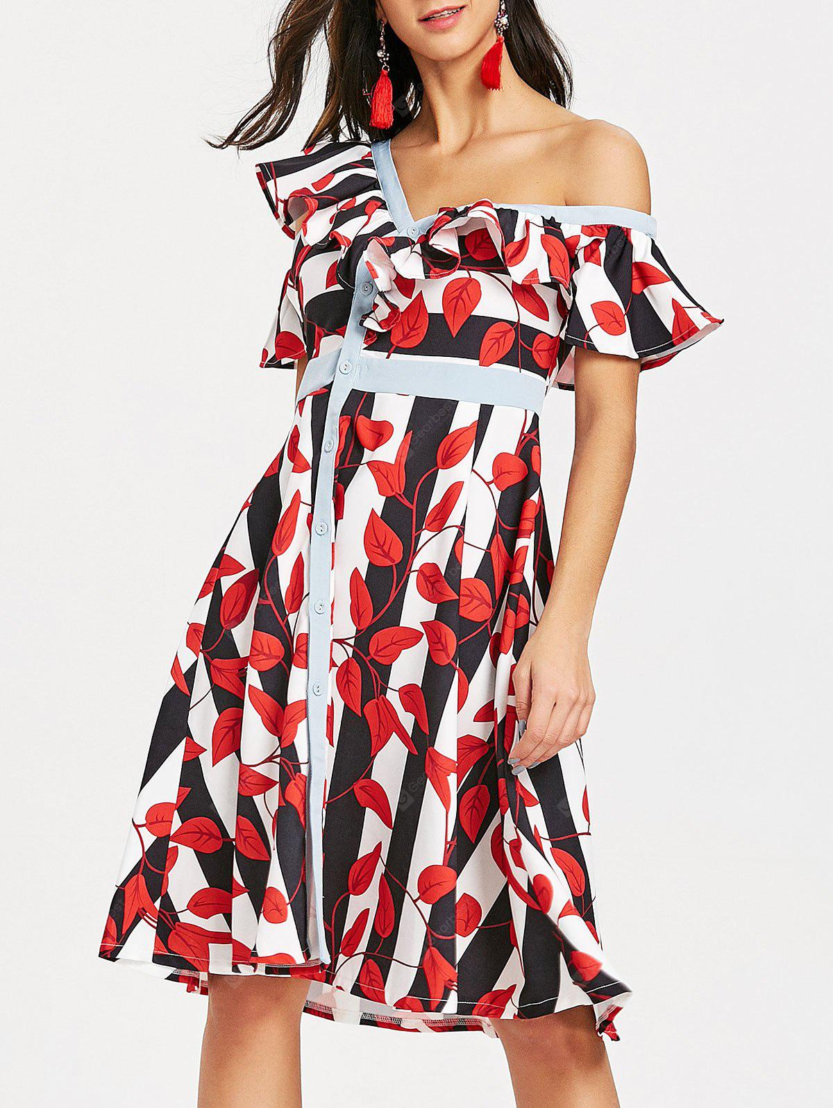 Skew Neck Leaves Print Striped Dress