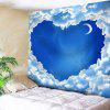Sky Moon Cloud Heart Print Wall Art Valentine's Day Tapestry - BLUE AND WHITE