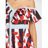 Skew Neck Leaves Print Striped Dress - RED