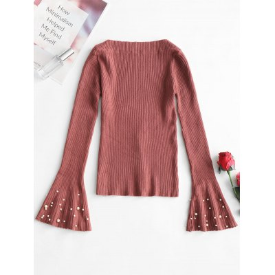 Slash Neck Beaded Bell Sleeve Knitted Top