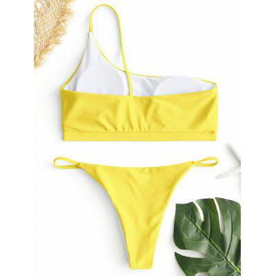 One Shoulder Padded Bikini SetLingerie &amp; Shapewear<br>One Shoulder Padded Bikini Set<br><br>Bra Style: Padded<br>Elasticity: Elastic<br>Gender: For Women<br>Material: Nylon, Spandex<br>Neckline: One-Shoulder<br>Package Contents: 1 x Top  1 x Briefs<br>Pattern Type: Solid<br>Style: Sexy<br>Support Type: Wire Free<br>Swimwear Type: Bikini<br>Waist: Low Waisted<br>Weight: 0.1900kg
