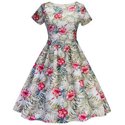 Vintage Tropical Print Fit and Flare Dress