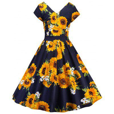 Vintage Sunflower Print Pin Up DressWomens Dresses<br>Vintage Sunflower Print Pin Up Dress<br><br>Dresses Length: Knee-Length<br>Material: Polyester, Spandex<br>Neckline: V-Neck<br>Package Contents: 1 x Dress<br>Pattern Type: Floral<br>Season: Spring, Fall<br>Silhouette: A-Line<br>Sleeve Length: Short Sleeves<br>Style: Vintage<br>Weight: 0.3500kg<br>With Belt: No