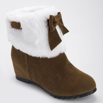 Fuzzy Bow Hidden Wedge Short Boots