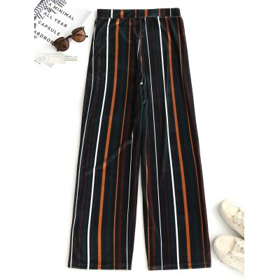 Velvet Striped Wide Leg PantsPants<br>Velvet Striped Wide Leg Pants<br><br>Closure Type: Elastic Waist<br>Fit Type: Loose<br>Material: Cotton, Polyester<br>Package Contents: 1 x Pants<br>Pant Style: Wide Leg Pants<br>Pattern Type: Striped<br>Style: Fashion<br>Waist Type: High<br>Weight: 0.4000kg<br>With Belt: No