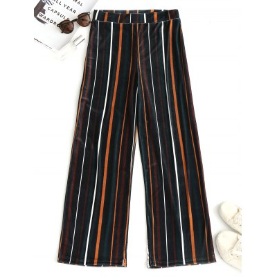 Buy STRIPE M Velvet Striped Wide Leg Pants for $26.57 in GearBest store