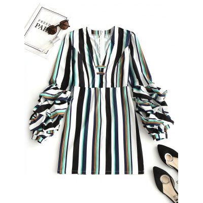 Stripes Gathered Sleeve Mini Dress