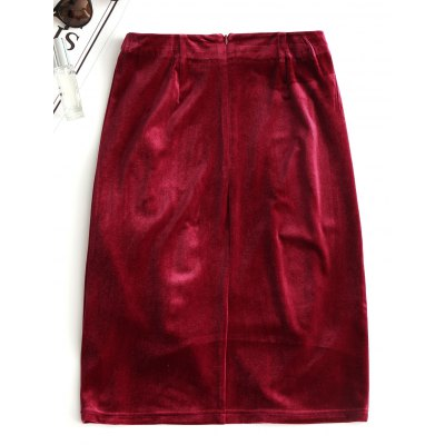 Asymmetrical Velvet Slit SkirtSkirts<br>Asymmetrical Velvet Slit Skirt<br><br>Length: Knee-Length<br>Material: Cotton, Polyester<br>Package Contents: 1 x Skirt<br>Pattern Type: Solid<br>Silhouette: Asymmetrical<br>Weight: 0.3050kg<br>With Belt: No