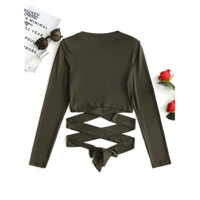 Tie Criss Cross Cropped TopTees<br>Tie Criss Cross Cropped Top<br><br>Collar: Round Neck<br>Embellishment: Tie<br>Material: Cotton, Polyester<br>Package Contents: 1 x Top<br>Pattern Type: Solid<br>Seasons: Autumn,Spring,Spring/Fall<br>Sleeve Length: Full<br>Style: Fashion<br>Weight: 0.2300kg