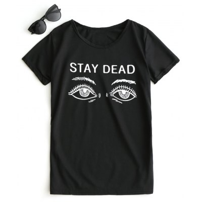 Buy BLACK L Eye Print Graphic Short Sleeve T-shirt for $14.69 in GearBest store
