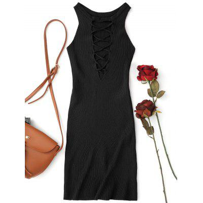 Knitting Lace Up Bodycon Mini Dress