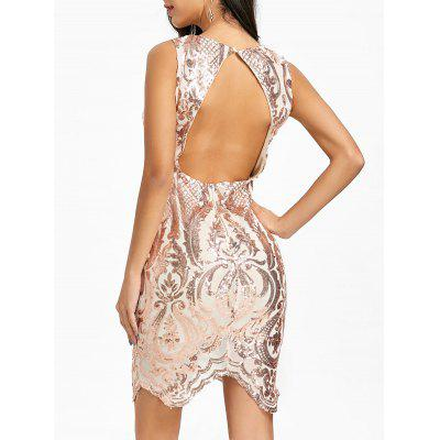 Sequin Plunging Neck Backless Bodycon Dress