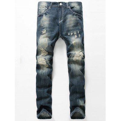 Straight Leg Faded Distressed Jeans