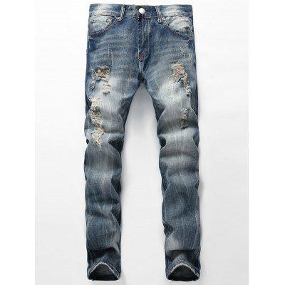 Faded Distressed Jeans with Straight Leg