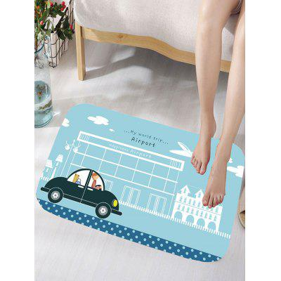 Cartoon Car Letter Print Flannel Nonslip Bath Mat