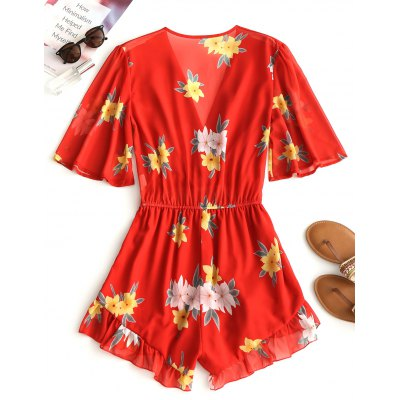 Floral Chiffon Ruffle RomperJumpsuits &amp; Rompers<br>Floral Chiffon Ruffle Romper<br><br>Embellishment: Ruffles<br>Fit Type: Regular<br>Material: Cotton, Polyester<br>Package Contents: 1 x Romper<br>Pattern Type: Floral<br>Style: Fashion<br>Weight: 0.2650kg<br>With Belt: No