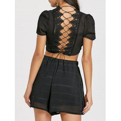 Back Lace-up Two Piece Shorts Set
