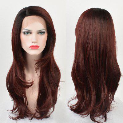 Long Side Parting Ombre Layered Straight Lace Front Synthetic Wig