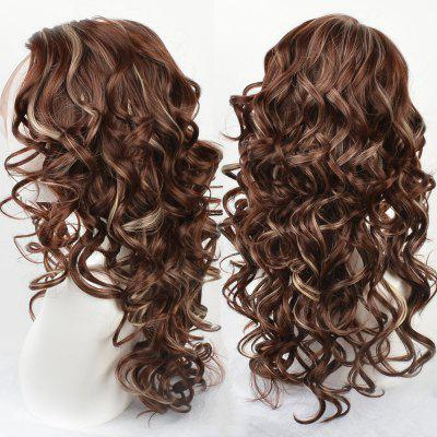 Long Side Parting Highlight Wavy Lace Front Synthetic Wig