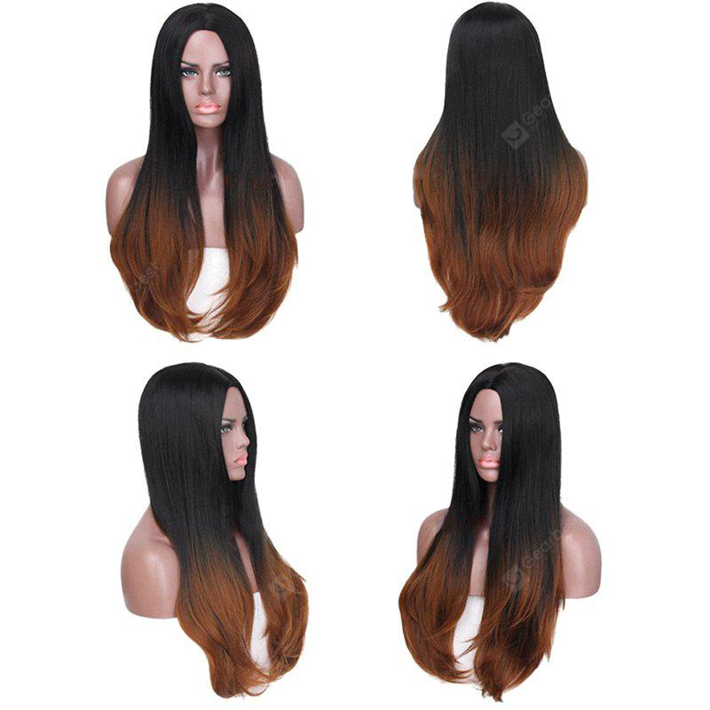 Long Center Parting Colormix Straight Synthetic Fiber Wig