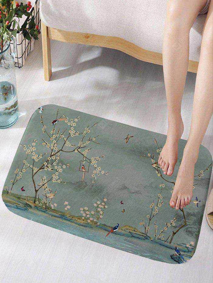 Flowers and Birds Print Flannel Skidproof Bath Rug