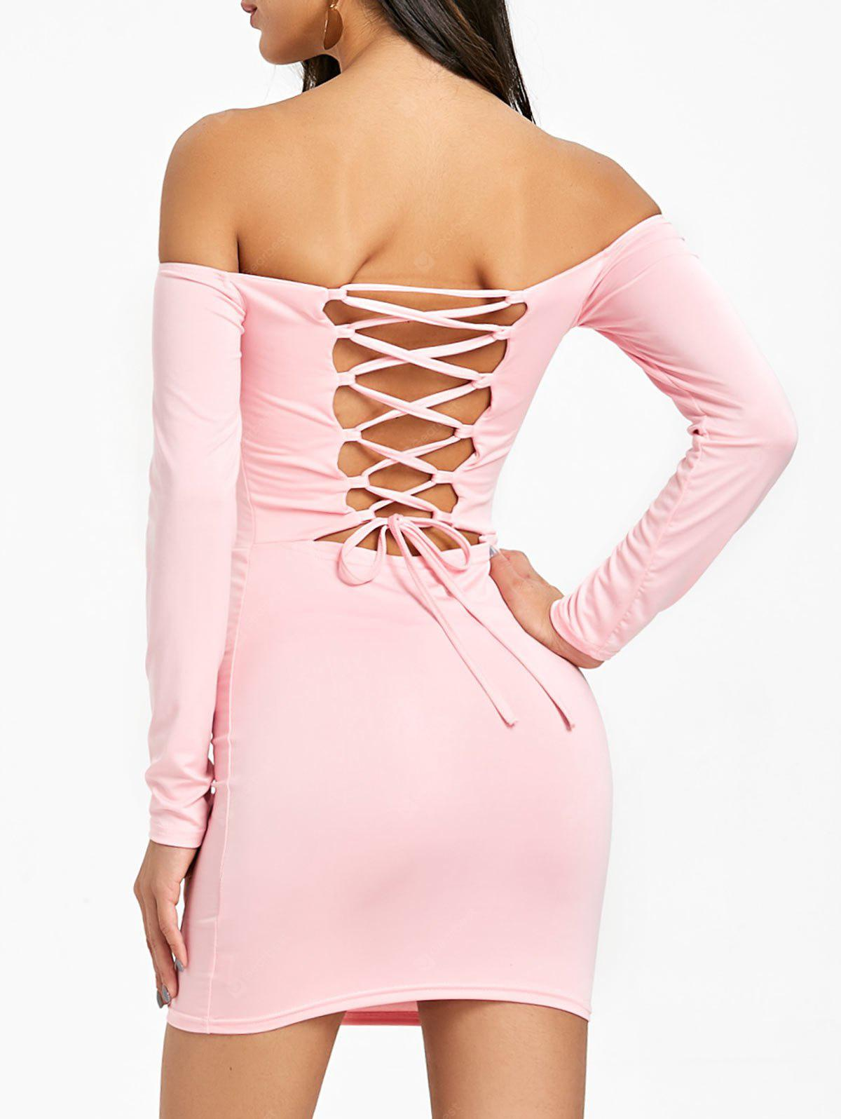 Back Lace Up Long Sleeve Bodycon Dress