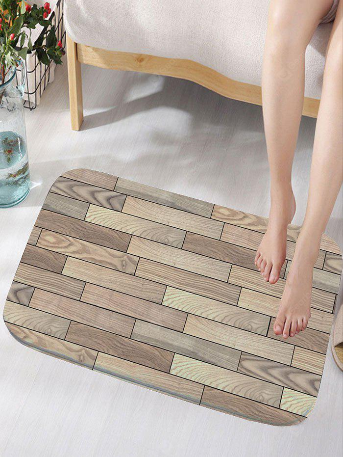 Holz Plank Print Flanell Skidproof Badematte
