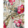 Vintage Tropical Print Fit and Flare Dress - WHITE