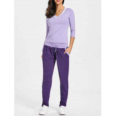 V Neck T-shirt and Drawstring Sports Pants