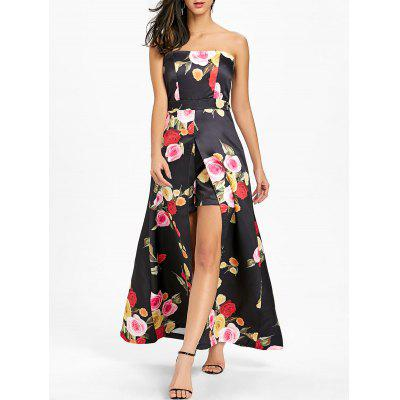 Strapless High Slit Floral Print Maxi Dress 26 08 Free Shipping