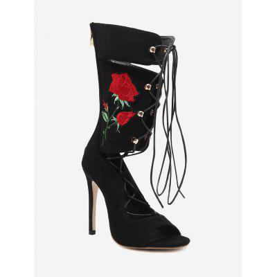 Open Toe Embroidery Gladiator Boots