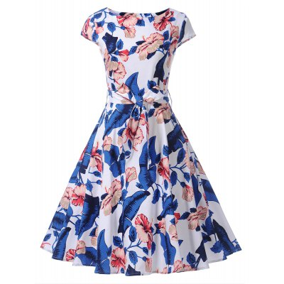 Vintage Cap Sleeve Floral Dress