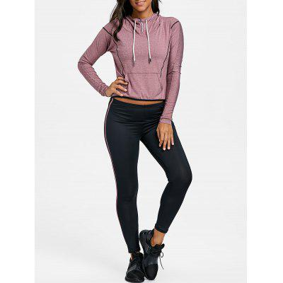 Hooded High Low Striped Three Piece Sweat Suits