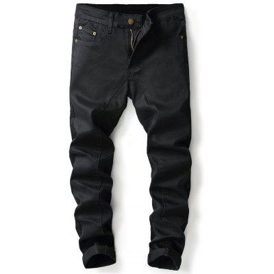 Panel Design Zipper Fly Straight Leg Jeans