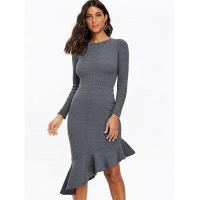Asymmetric Ribbed Bodycon Mermaid DressBodycon Dresses<br>Asymmetric Ribbed Bodycon Mermaid Dress<br><br>Dresses Length: Mid-Calf<br>Embellishment: Flounce<br>Material: Cotton, Lycra<br>Neckline: Round Collar<br>Package Contents: 1 x Dress<br>Pattern Type: Solid Color<br>Season: Fall, Spring, Winter<br>Silhouette: Bodycon<br>Sleeve Length: Long Sleeves<br>Style: Brief<br>Weight: 0.5400kg<br>With Belt: No